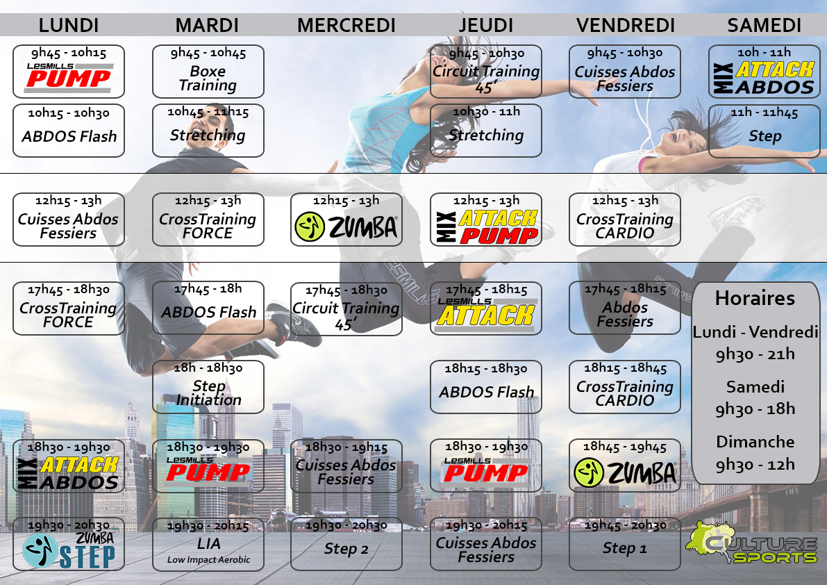 Planning de cours collectifs